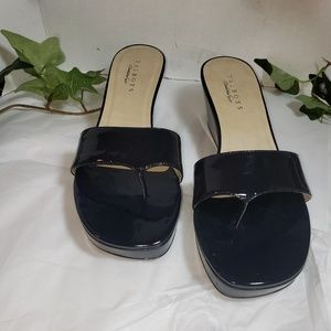 Talbots Navy Blue Wedge Sandals Mules sz 10.5 M
